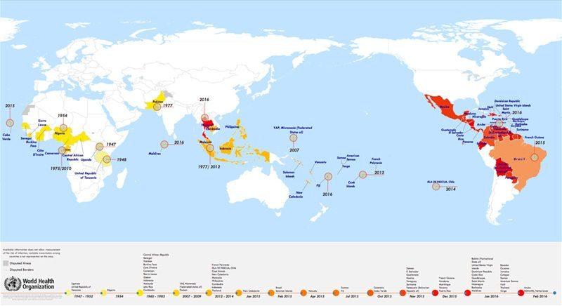 Вирус Зика - история на разпространението